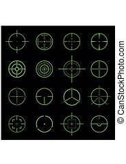 Set of different flat green Crosshair sign icons. Vector Illustration
