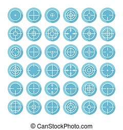 Set of different flat vector crosshair sign icons with long...