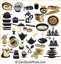 Set of different food - bread, pie, biscuit, cakes, eaggs, ...