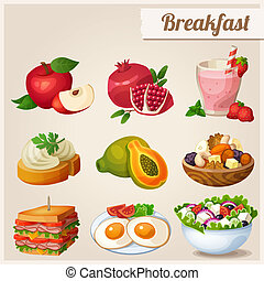 Set of different food icons. Breakfast. - Red apple,...
