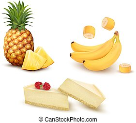 Set of different fruit and desert. Pineapple, banana and cheesecake. Vector.