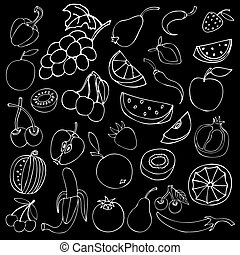 Set of different fruits isolated on black background