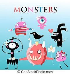 Set of different funny monsters