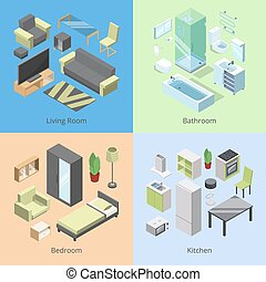 Set of different furniture elements for rooms in modern home. Vector isometric illustrations of kitchen, bedroom, living room, and bathroom