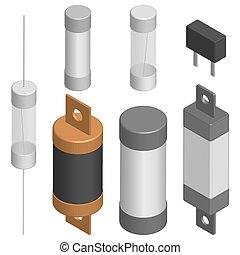 Set of different fuses in 3D, vector illustration. - Set of...