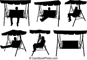 Set of different garden swings with people