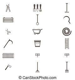 Set of different gardening tools. Garden items. Flat design illustration of items for gardening. Vector illustration.