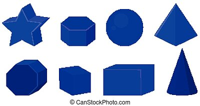 Set of different geometric shapes in dark blue color