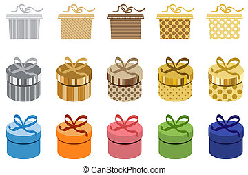 Set of different gift boxes