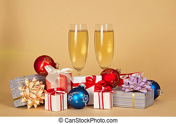 Set of different gift boxes, toys and wine glasses