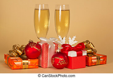 Set of different gift boxes, toys, snowflake and wine glasses