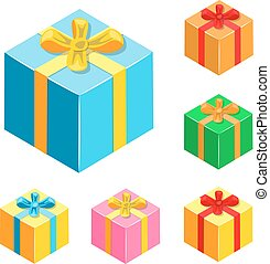 Set of different gifts boxes.