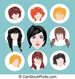 Set of different girl's hairstyle collection