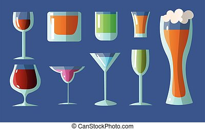 Collection set of different glasses in various shapes with alcoholic drinks. For wine, whiskey, beer, brandy, tequila, cognac, liqueur, vermouth, gin, rum, absinthe, sambuca Isolated icons set