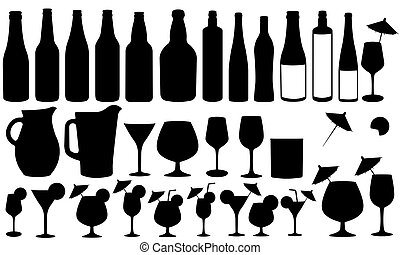 set of different glassware items