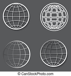 Set of different globes