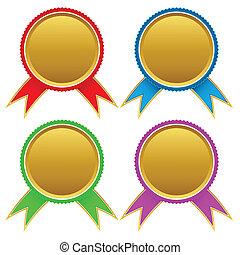 Set of different golden medals/ Vector illustration
