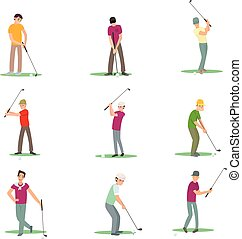 Set of different golf players isolate on white background