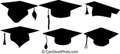 set of different graduation hats