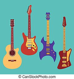 Set of different guitars.