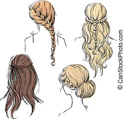set of different hairstyles. Hand d
