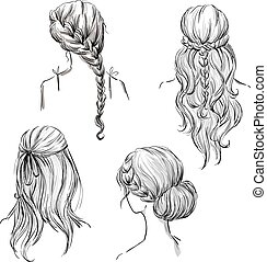 set of different hairstyles. Hand drawn. Black and white.