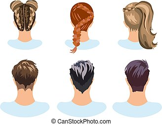 Set of different hairstyles woman and man