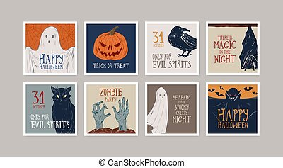 Set of different hand drawn Halloween greeting cards vector illustration. Collection of postcards with symbols and lettering congratulation to All saints day isolated. Autumn seasonal holiday