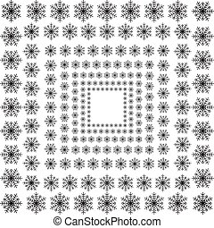 Set of different hand drawn snowflakes pattern brush Merry Christmas - Vector EPS10.