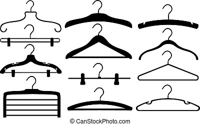 hangers - set of different hangers isolated
