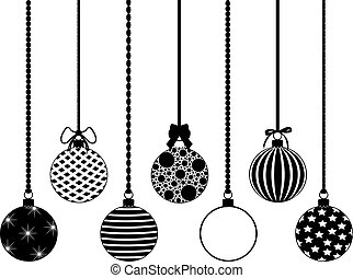 Set of different hanging Christmas decorations