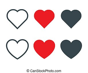 Set of different heart shapes icon