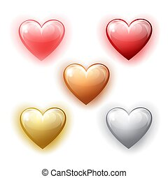 Set of different heart shapes on white background.