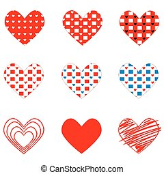 set of different hearts on Valentine's Day