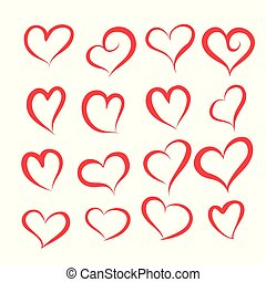 set of different hearts shape