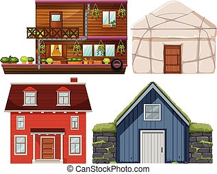 Set of different house
