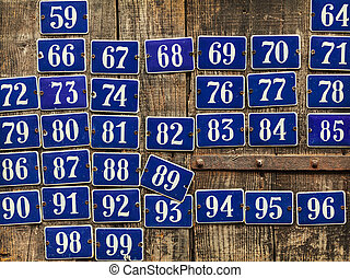 Set of different house number plates