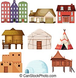 Set of different house style