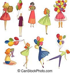 Set of different images of girls with a bouquet of flowers and balloons. Vector illustration on white background.