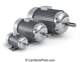 Set of big different industrial electric motors isolated on white background