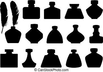 Set of different inkwells