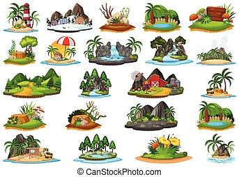 Set of different island landscape