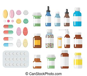 Set of different isolated, colorful pills and medical bottles