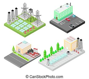 Set of different isometric buildings. Electric power station with power poles and batteries. Road, green bushes in front of house. Vector illustration isometric style.