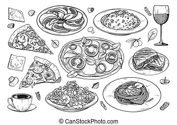 Set of different Italian dishes. Pizza, spaghetti, risoto and other popular Italian dishes. Vector