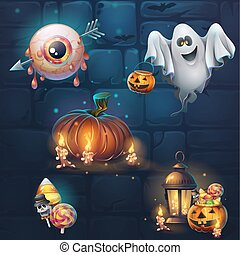 Set of different items for game user interface theme Halloween