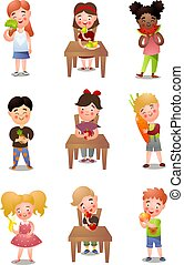 Set of different kids that eating healthy fresh food
