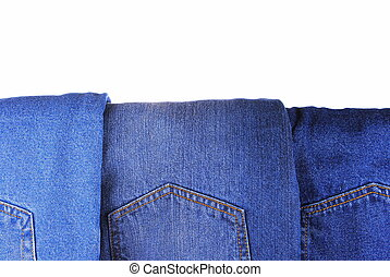 set of different kind of blue jeans, as background