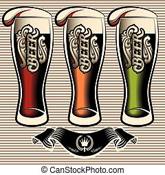 set of different kinds glasses of beer