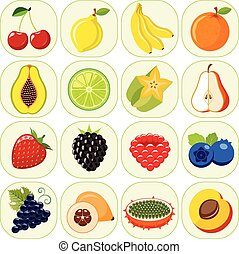 Set of different kinds of fruit ico